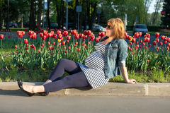Pregnant woman sitting near tulip Royalty Free Stock Images