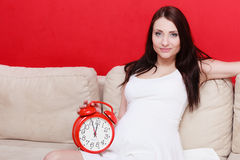 Pregnant woman sitting on sofa holding clock Stock Photography