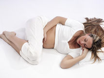 Pregnant Woman Sleeping Stock Photos