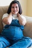 Pregnant woman smiling stock photo