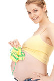 Pregnant woman with socks Royalty Free Stock Images