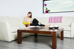 Pregnant woman. On a sofa Stock Images