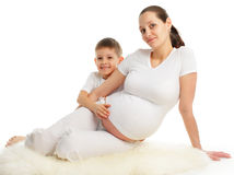 Pregnant woman with the son Stock Images
