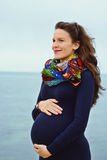 Pregnant woman in spring Royalty Free Stock Images