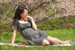 Pregnant woman by springtime Royalty Free Stock Photography