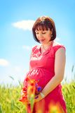 Pregnant woman standing in a field Stock Photo
