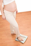 Pregnant woman standing on scales Stock Photography