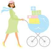 Pregnant woman with a stroller Royalty Free Stock Photo