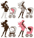 Pregnant woman with Strollers Stock Photos