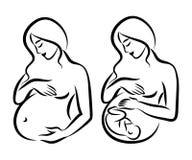 Pregnant woman. Stylized outline symbol. Maternity, pregnancy Stock Photos
