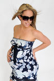 Pregnant Woman with Sunglasses Stock Image