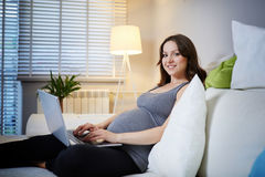 Pregnant woman surfing internet Stock Photos