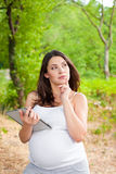 Pregnant woman with Tablet PC Stock Photo
