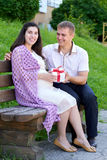 Pregnant woman takes a gift from her husband, happy family, couple in city park, summer season, green grass and trees Stock Image