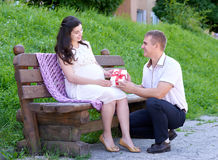 Pregnant woman takes a gift from her husband, happy family, couple in city park, summer season, green grass and trees Stock Photo