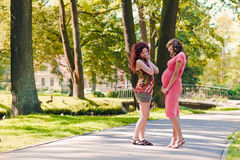 Pregnant woman talks to the girlfriend Royalty Free Stock Photo