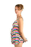 Pregnant woman in tankini swimsuit isolated Stock Image