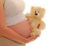 Pregnant woman with a teddy bear Stock Photos