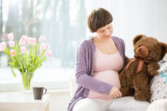 Pregnant woman with teddy bear. Future mom holding brown teddy bear stock image