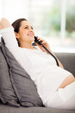 Pregnant woman telephone Royalty Free Stock Image
