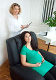 Pregnant woman at therapy. Pregnant women at psychological therapy Royalty Free Stock Photography