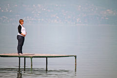 Pregnant Woman there is on the pier Stock Photography
