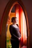 Pregnant woman thinking stock photos