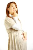 Pregnant woman thinks about something� Royalty Free Stock Photos