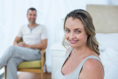 Pregnant woman touching her belly Royalty Free Stock Image