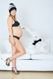 Pregnant Woman with Toy Royalty Free Stock Photography