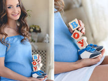 The pregnant woman with toy cubes in hands. Stock Photo