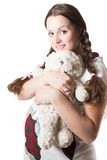 Pregnant woman and toy Teddy bear. On white background isolated royalty free stock images