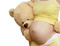 Pregnant woman and toys Stock Photo