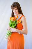 Pregnant woman tulips Stock Image