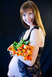 Pregnant woman tulips Royalty Free Stock Photo