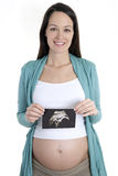 Pregnant woman ultrasound scan Royalty Free Stock Image