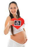 Pregnant woman and ultrasound scan photo Royalty Free Stock Photography
