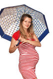 A pregnant woman with an umbrella Royalty Free Stock Images