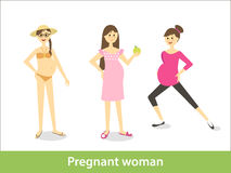 Pregnant woman. Vector characters in cartoon style Stock Images