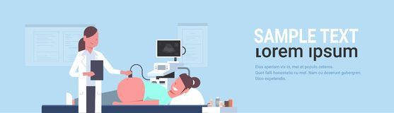 Pregnant woman visiting female doctor doing ultrasound fetus screening at digital monitor gynecology consultation. Concept modern hospital clinic horizontal royalty free illustration