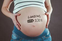 Pregnant woman waiting for a new baby. Royalty Free Stock Images