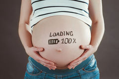 Pregnant woman waiting for a new baby. Royalty Free Stock Photo
