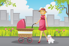 Pregnant woman walking Royalty Free Stock Photo