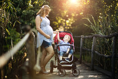 Free Pregnant Woman Walking With Child In Nature Stock Images - 73325164