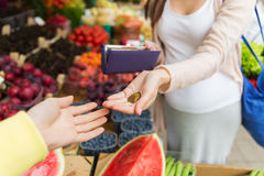 Pregnant woman with wallet buying food at market Stock Photo