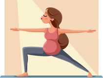 Pregnant Woman In Warrior Yoga Pose Vector Illustration royalty free stock image