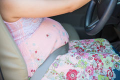 Pregnant woman wear safety belt Stock Photography