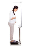 Pregnant woman weighing royalty free stock images