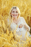 Pregnant woman  in wheat Royalty Free Stock Images