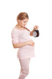 Pregnant woman on a white background Royalty Free Stock Images